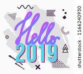 vector trendy hello 2019... | Shutterstock .eps vector #1166240950