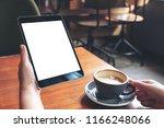 mockup image of woman's hands... | Shutterstock . vector #1166248066