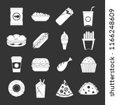 fast food icons set white... | Shutterstock . vector #1166248609