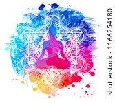 buddha over watercolor... | Shutterstock .eps vector #1166254180