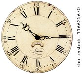 old antique wall clock isolated ...