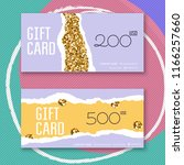 voucher template with gold gift ... | Shutterstock .eps vector #1166257660