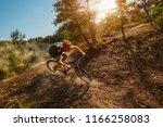 cross country biker on forest...   Shutterstock . vector #1166258083