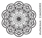 mandala flower freehand drawing ... | Shutterstock . vector #1166263303