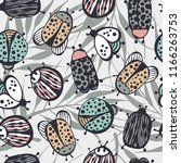 cartoon seamless pattern with... | Shutterstock .eps vector #1166263753
