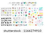 set of hand drawn alphabets ... | Shutterstock .eps vector #1166274910