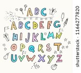 hand drawn colorful alphabet... | Shutterstock .eps vector #1166277820