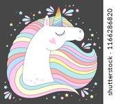 vector unicorn head. cute white ... | Shutterstock .eps vector #1166286820