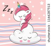 cute cartoon unicorn is... | Shutterstock .eps vector #1166287513