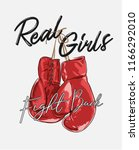 girl slogan with boxer glove... | Shutterstock .eps vector #1166292010