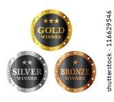 gold  silver and bronze winner... | Shutterstock .eps vector #116629546