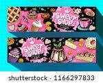 sweet shop cafe banners... | Shutterstock .eps vector #1166297833
