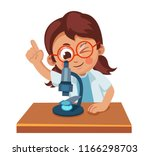 cute little girl looking... | Shutterstock .eps vector #1166298703