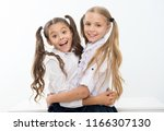 happy girl friends hug each... | Shutterstock . vector #1166307130