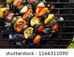 vegan skewers of various... | Shutterstock . vector #1166311090