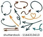 hand drawn diagram arrow icons... | Shutterstock .eps vector #1166313613