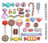 colorful candies set   hard... | Shutterstock .eps vector #1166315989