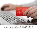 man holding credit card in hand ... | Shutterstock . vector #116631916