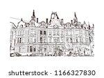historic building with landmark ... | Shutterstock .eps vector #1166327830