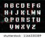 alphabet with glitch and noise... | Shutterstock .eps vector #1166330389