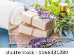 handmade soap  fresh plants and ... | Shutterstock . vector #1166331280