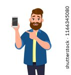 happy young man showing... | Shutterstock .eps vector #1166345080