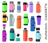thermos vector vacuum flask or... | Shutterstock .eps vector #1166348776