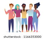 group of young five happy... | Shutterstock .eps vector #1166353000