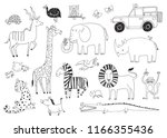 a set of quirky african animals ... | Shutterstock .eps vector #1166355436