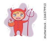 little boy in halloween devil... | Shutterstock .eps vector #1166379913