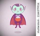 halloween little vampire... | Shutterstock .eps vector #1166379916