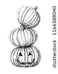 three halloween pumpkins  ink... | Shutterstock . vector #1166388040