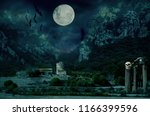 halloween house with moon and... | Shutterstock . vector #1166399596