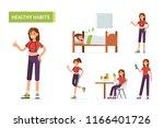 healthy habits concept banner.  ... | Shutterstock .eps vector #1166401726