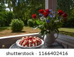 strawberry cream cake and... | Shutterstock . vector #1166402416