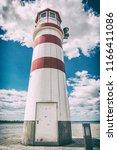 lighthouse in podersdorf am see ... | Shutterstock . vector #1166411086