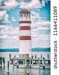 lighthouse in podersdorf am see ... | Shutterstock . vector #1166411089