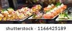 danish smorrebrod traditional... | Shutterstock . vector #1166425189