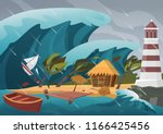 natural strong disaster with... | Shutterstock .eps vector #1166425456