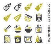 bamboo shoot icon set | Shutterstock .eps vector #1166426320