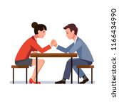 business man and woman sitting... | Shutterstock .eps vector #1166434990
