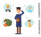 graduate wearing graduation cap ... | Shutterstock .eps vector #1166434993