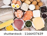 food rich in iodine. various... | Shutterstock . vector #1166437639