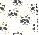 seamless pattern with pandas... | Shutterstock .eps vector #1166437876