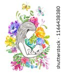 mother breast feeding and cute... | Shutterstock . vector #1166438380