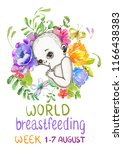 mother breast feeding and cute... | Shutterstock . vector #1166438383