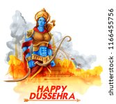 illustration of lord rama in... | Shutterstock .eps vector #1166455756