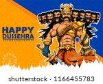 llustration of ravana with ten... | Shutterstock .eps vector #1166455783
