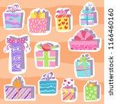 illustration flat gift boxes... | Shutterstock . vector #1166460160