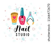 nail salon logo. manicure... | Shutterstock .eps vector #1166472670
